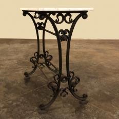 Art Nouveau Period Cast Iron Marble Top Bistro Table ~ Sofa Table