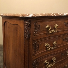 19th Century French Louis XV Walnut Marble Top Commode