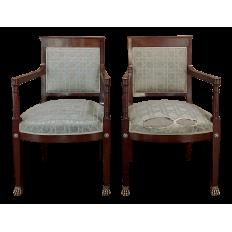 Pair 19th Century French Napoleon III Period Mahogany Armchairs