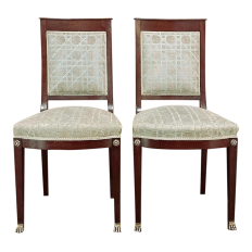 Pair 19th Century French Napoleon III Period Mahogany Chairs