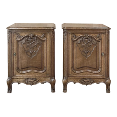 Pair Antique French Louis XV Petit Nightstands ~ End Tables