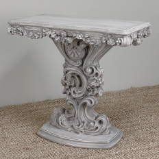 Mid-Century Hand-Carved Italian Fruitwood Baroque Painted Console ~ End Table