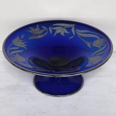 Art Nouveau Silver-Overlaid Cobalt Blue Glass Centerpiece