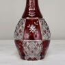 Antique Cranberry Glass Hand-Cut Crystal Decanter