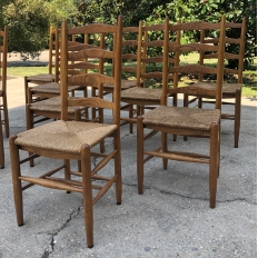 Set of 10 Rustic Country French Rush Seat Dining Chairs