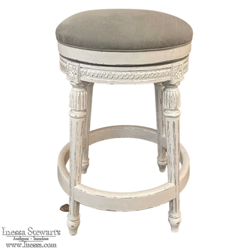 Painted Swivel Seat Counter Stool in Paris White with Gray Linen