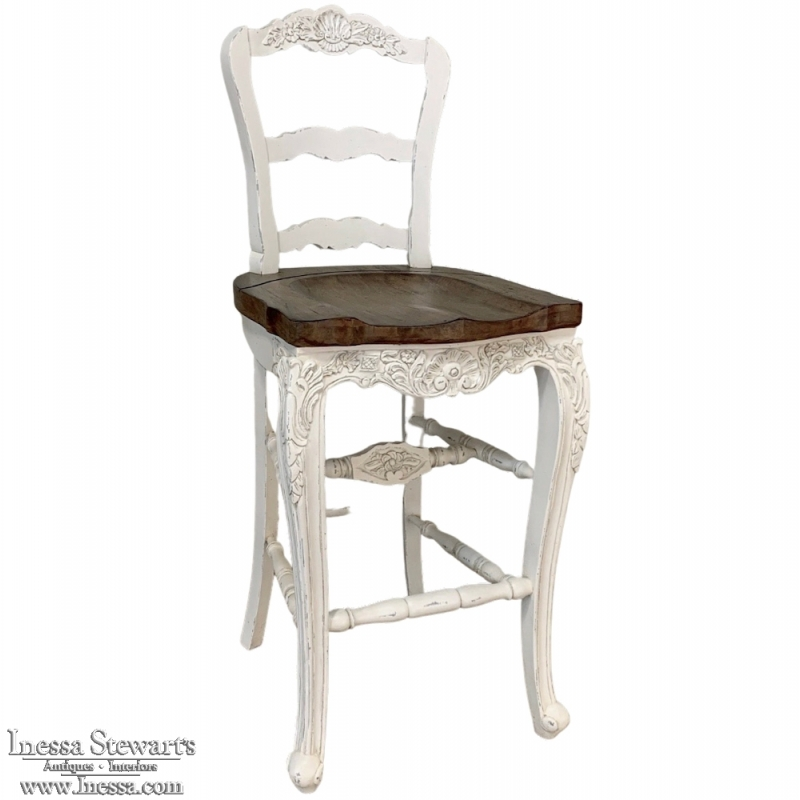 Country French Solid Oak Bar Stool in White