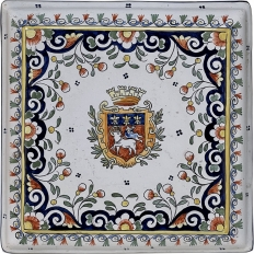 19th Century Hand-Painted Trivet from Rouen, France
