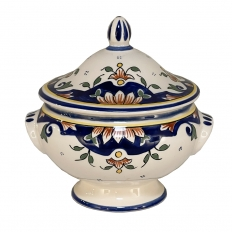 19th Century French Hand-Painted Faience Petit Tureen from Rouen