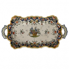 19th Century French Faience Hand-Painted Soup Tureen with Platter