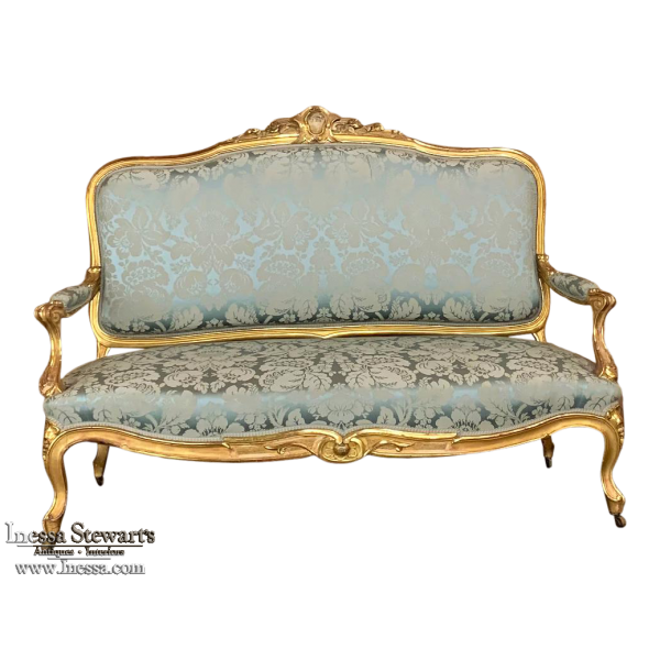 19th Century French Louis XV Giltwood Canape ~ Sofa