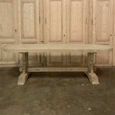 Country French Stripped Oak Dining Table with Trestle