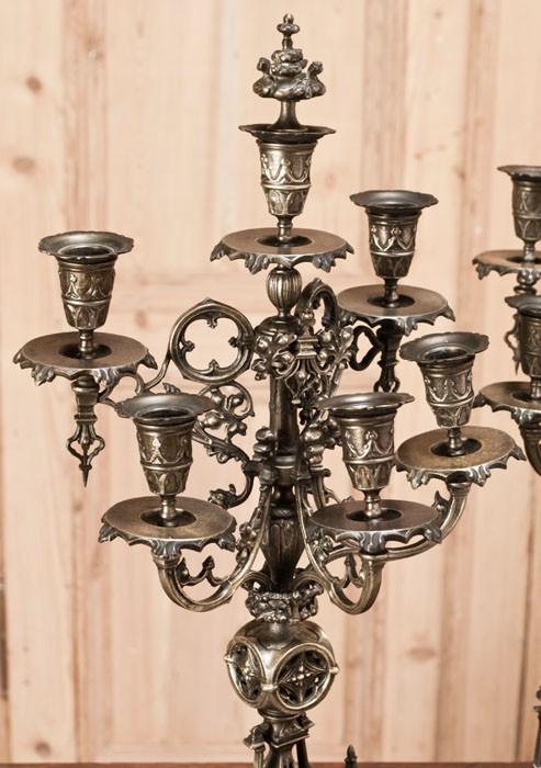 Pair Antique French Gothic Bronze Candelabra Inessa