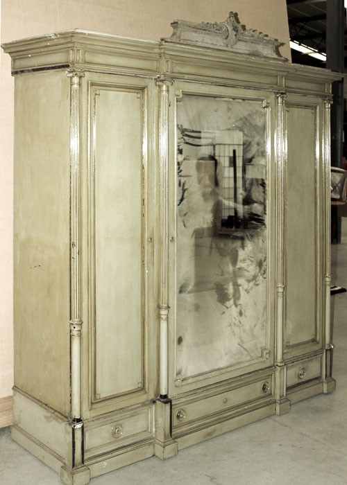 Antique French Louis Xvi Painted Triple Armoire Inessa