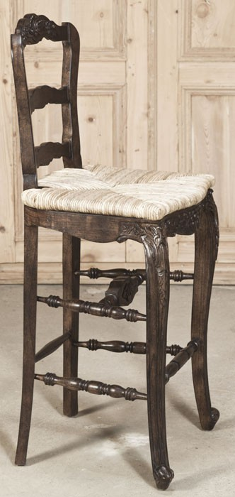 Reproduction Country French Solid Oak Bar Stool Inessa Stewart S