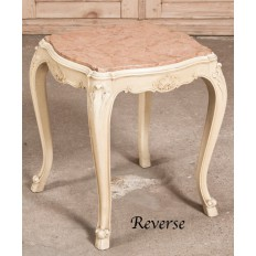 Antique Country French Painted Marble Top Occasional End Table