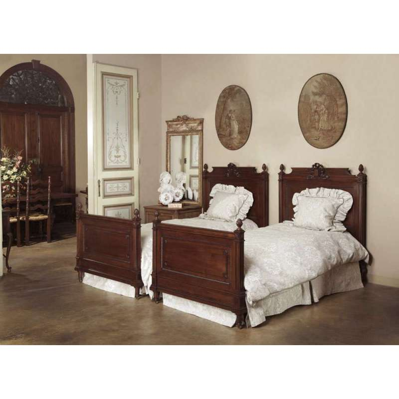 Pair Antique French Louis Xvi Walnut Beds Inessa Stewart
