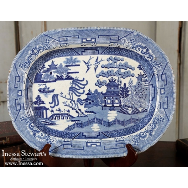 Antique Blue And White Transferware Platter Willow