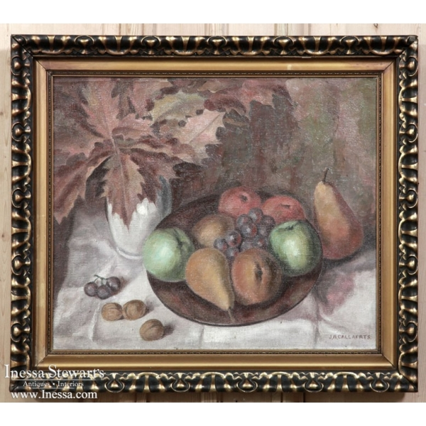 Antique Framed Oil on Canvas, Still Life by Josef A. Callaerts
