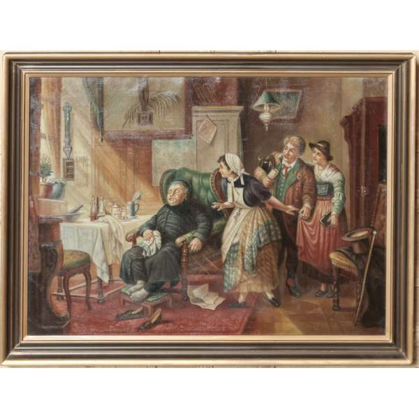 Framed Oil Painting on Canvas by Famous Belgian Caricature Artist Jan Op De Beeck (1958- )