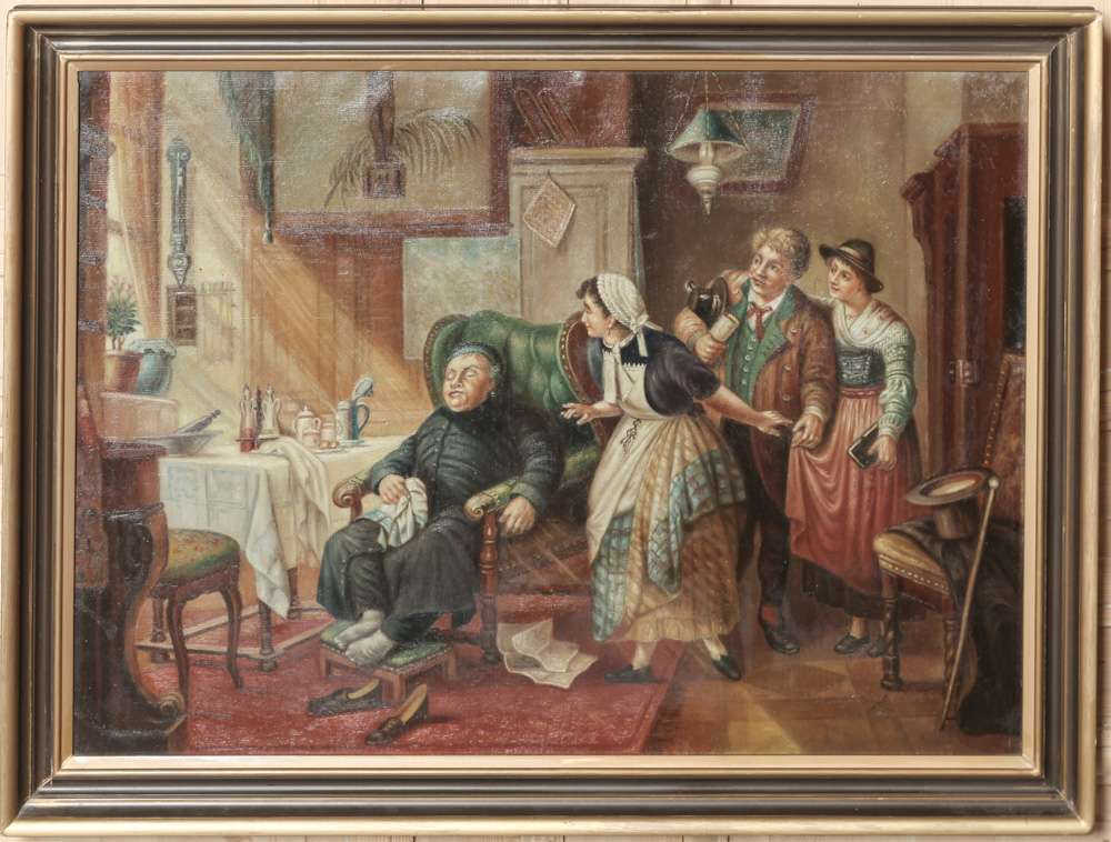 Framed Oil Painting On Canvas By Famous Belgian Caricature