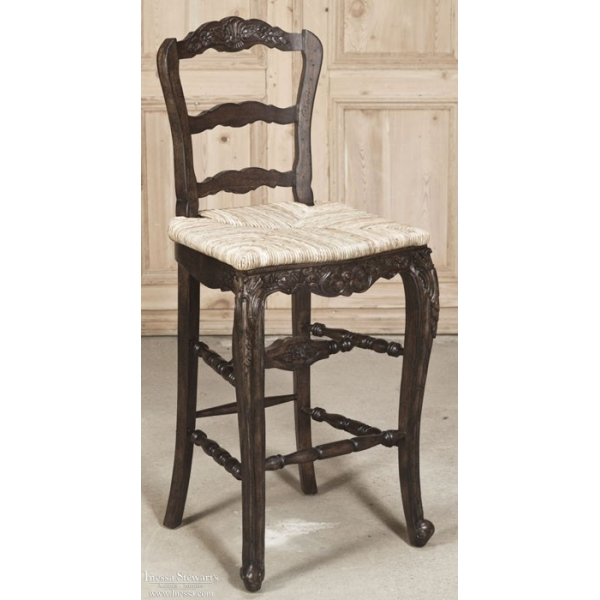 Reproduction Country French Solid Oak Bar Stool Inessa