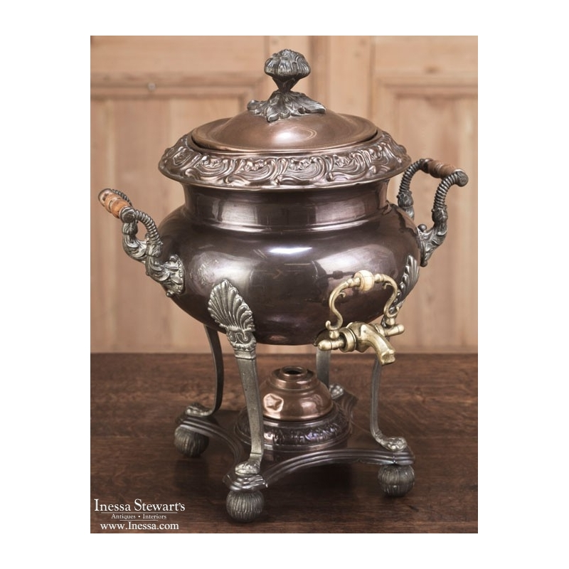 Antique French Copper and Bass Tea Urn