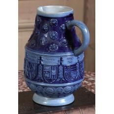 Antique German Blue Salt Glaze Earthenware Beer Pitcher