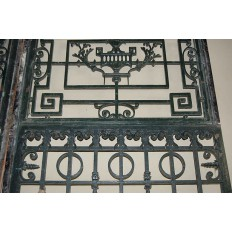 19th Century Paris Townhouse Hand Forged Wrought Iron Gate + Frame, Circa 1870's
