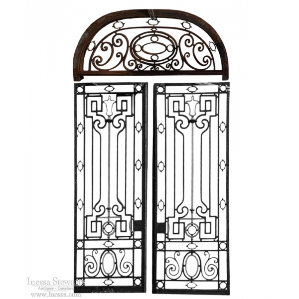 Pair Iron Doorway Gates With Transom - Pair Iron Doorway Gates With Transom - Inessa Stewart's Antiques