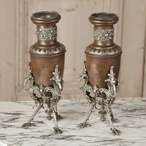 Pair Copper and Silver-plated Bronze Vases