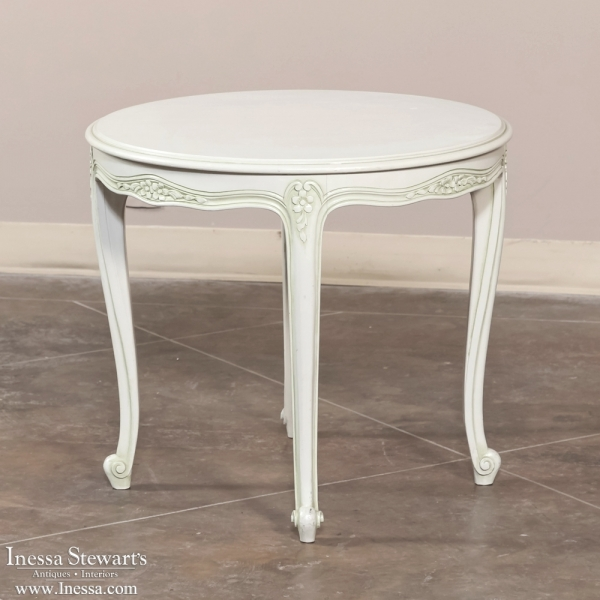 Louis XV painted round end table - Inessa Stewart\'s Antiques