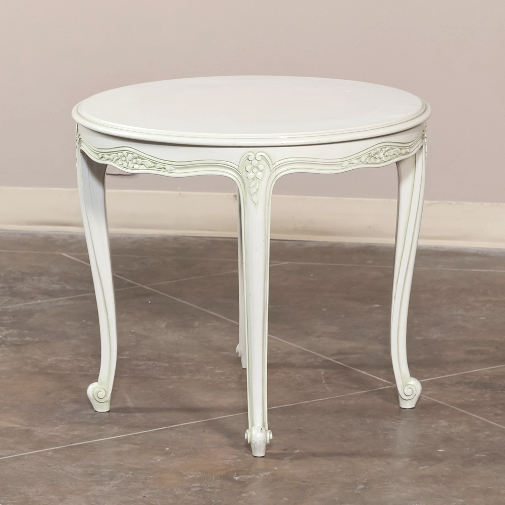 Louis xv painted round end table inessa stewart 39 s antiques - Table louis xv ...