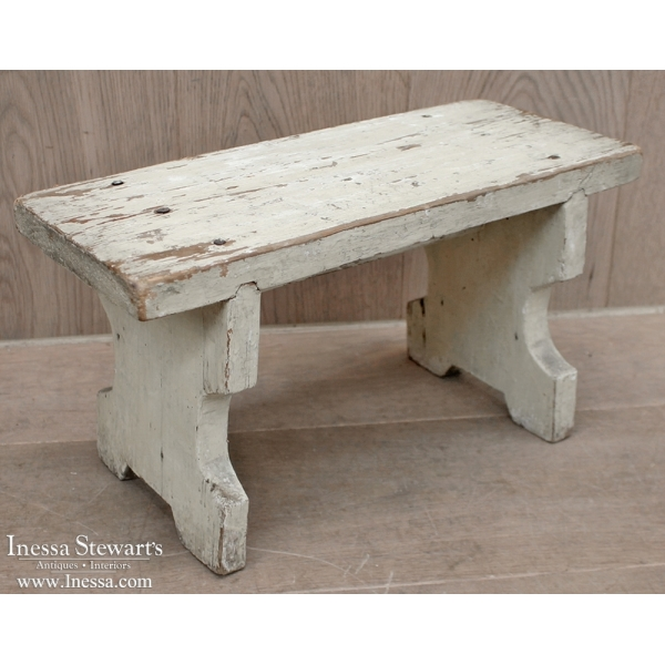 Antique Painted Rustic Footstool