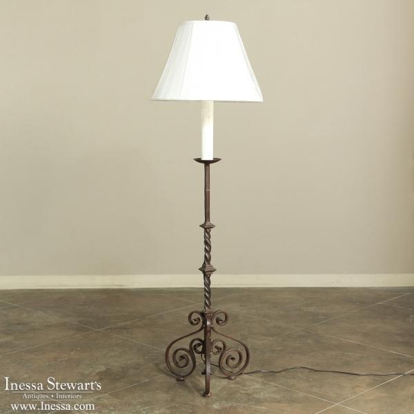 19th Century Torchere Wrought Iron Floorlamp