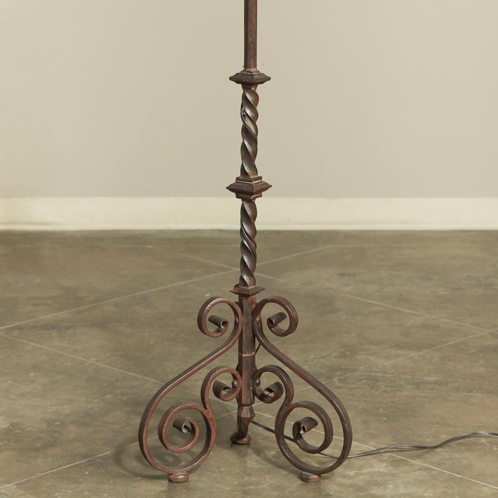 19th Century Torchere Wrought Iron Floorlamp Inessa