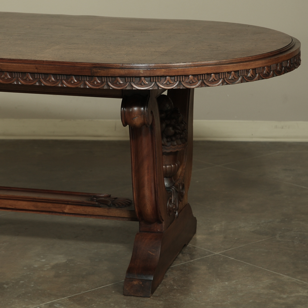 italian neoclassic oval walnut dining table. Black Bedroom Furniture Sets. Home Design Ideas