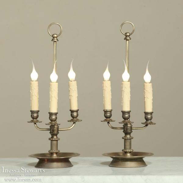 PAIR Brass Triple Candlestick Lamps