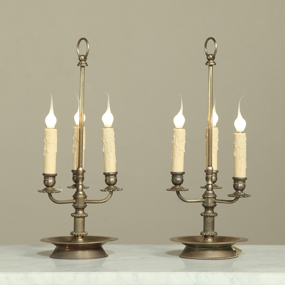 Pair Brass Triple Candlestick Lamps Inessa Stewart S