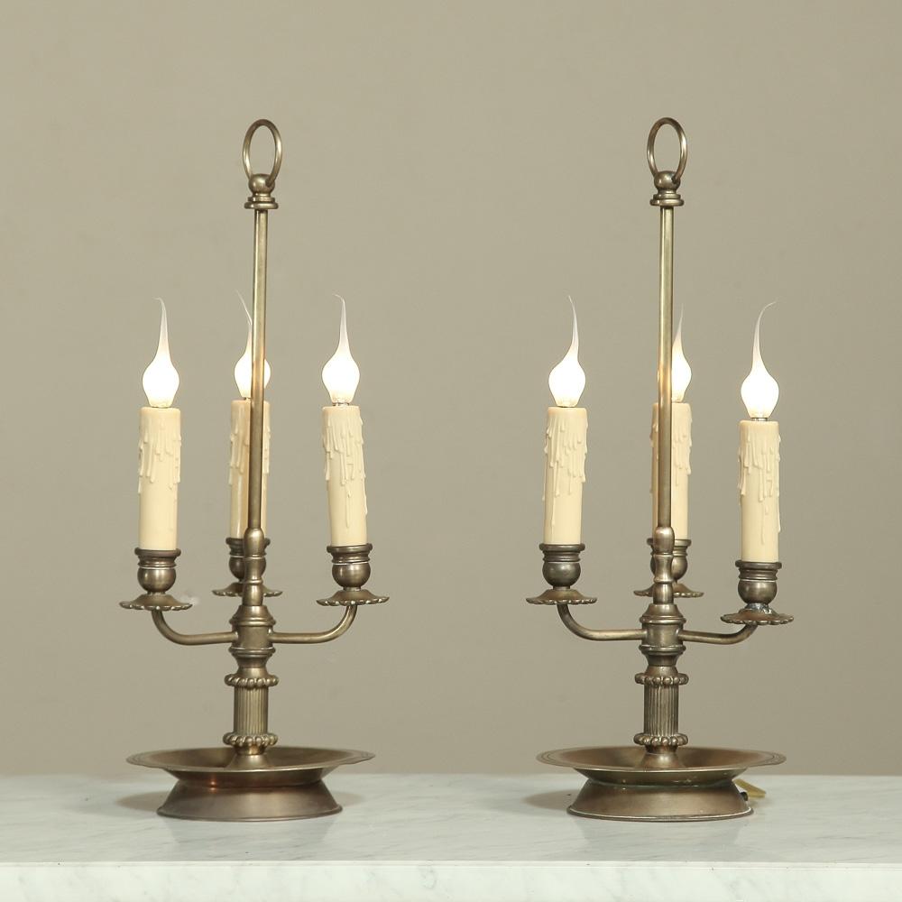 Pair Brass Triple Candlestick Lamps Inessa Stewart S Antiques