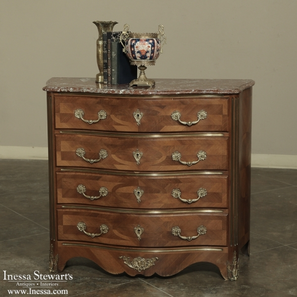 19th century french louis xv marble top commode with marquetry. Black Bedroom Furniture Sets. Home Design Ideas