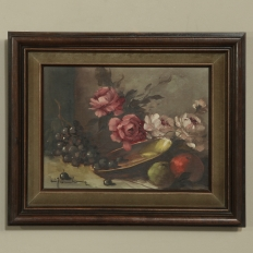 Antique French Floral Still Life Framed Oil Painting on Canvas