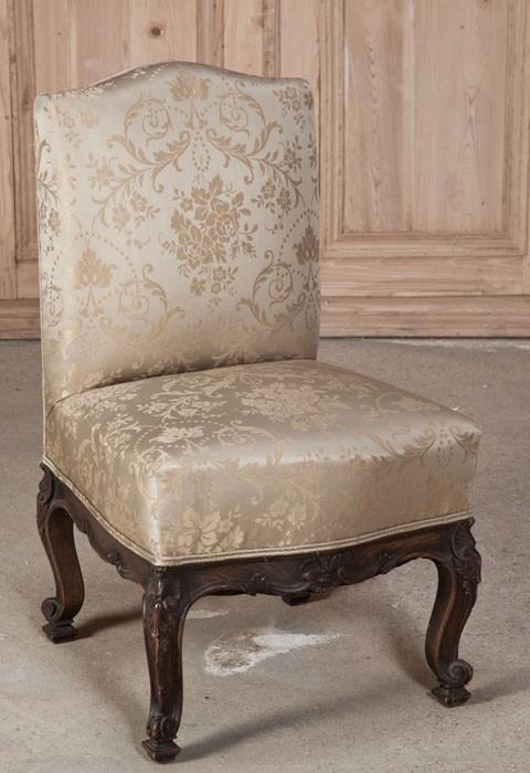 Antique Italian Hand Carved Walnut Slipper Chair - Antique Italian Hand Carved Walnut Slipper Chair - Inessa Stewart's