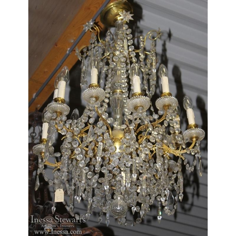 Antique Crystal Amp Polished Brass Chandelier