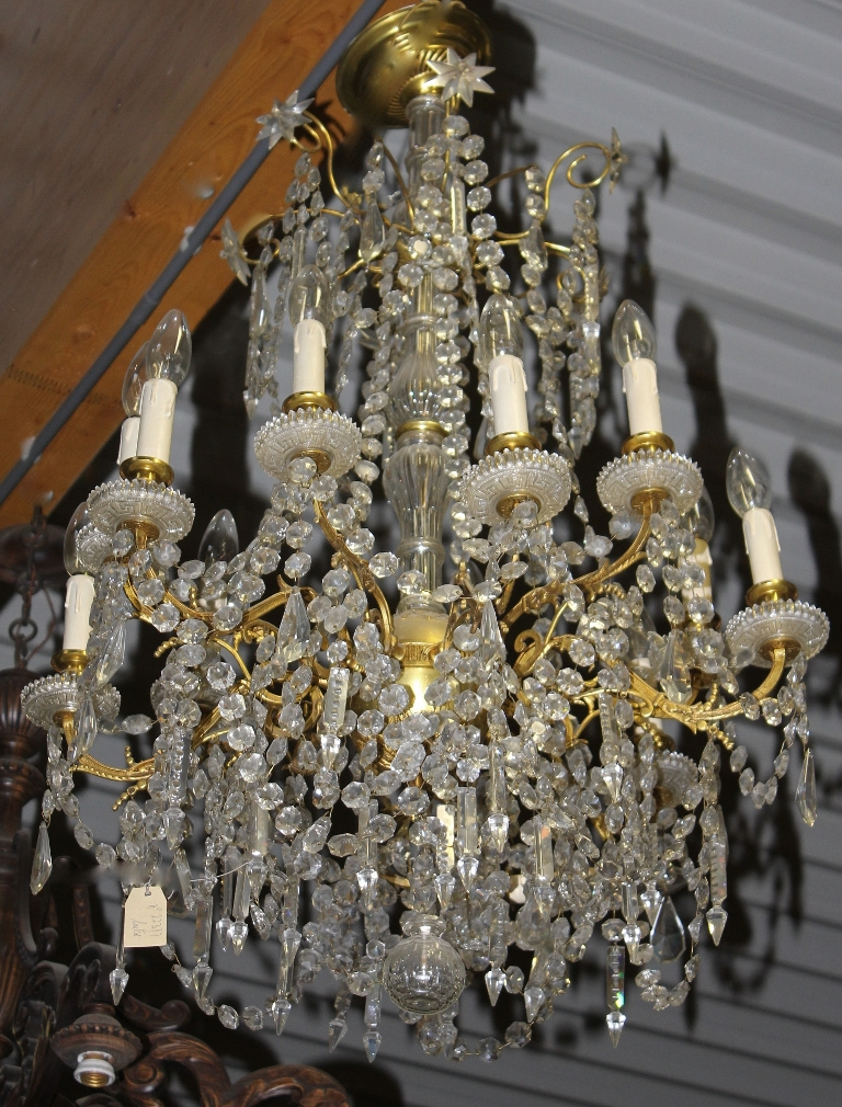Antique Crystal Amp Polished Brass Chandelier