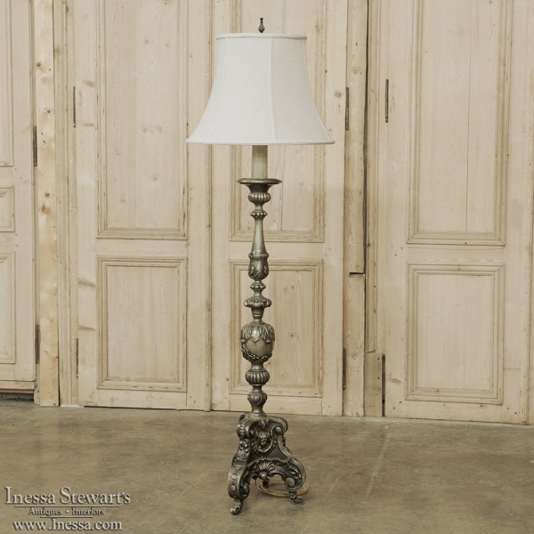 Antique Renaissance Revival Candlestick Floor Lamp With Angel Cast In Bronze