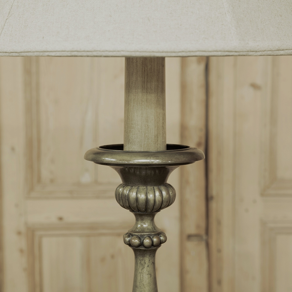 Antique Bronze Candlestick Floor Lamp With Angel