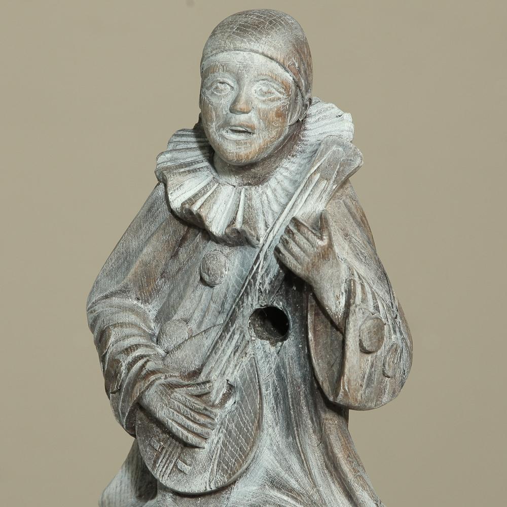 Antique Italian Hand Carved Wood Venetian Carnaval Clown