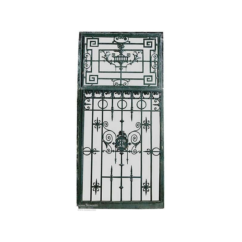 19th Century Paris Townhouse Hand Forged Wrought Iron Gate and Frame, Circa 1870's
