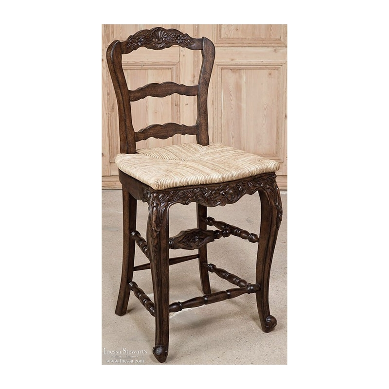 Ordinaire Reproduction Country French Rush Seat Counter Chair